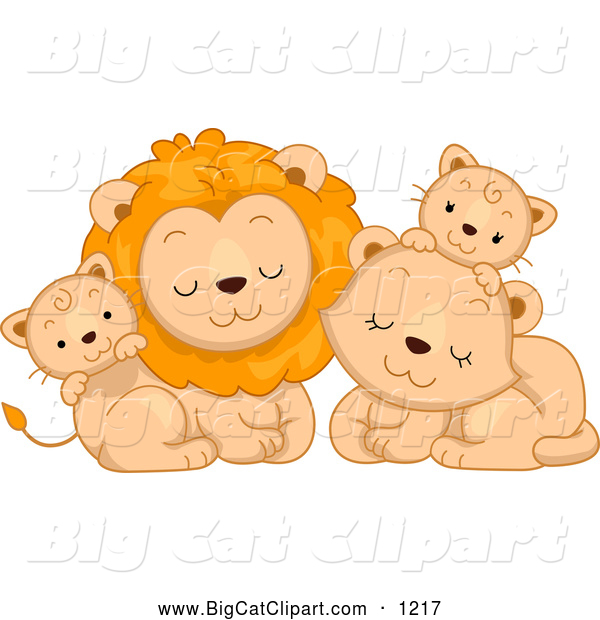 Big Cat Cartoon Vector Clipart of a Cute Lion Family Cuddling
