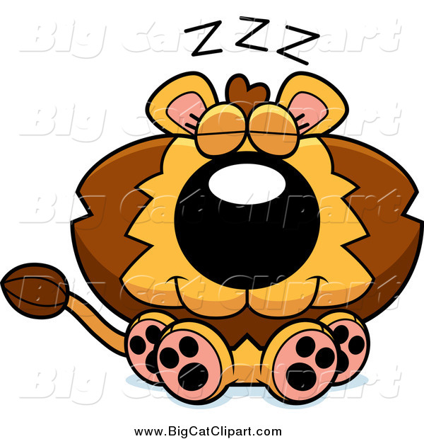 Big Cat Cartoon Vector Clipart of a Cute Lion Sitting and Dozing