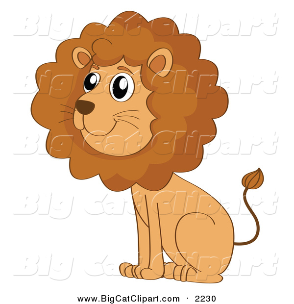 Big Cat Cartoon Vector Clipart of a Cute Male Lion Sitting