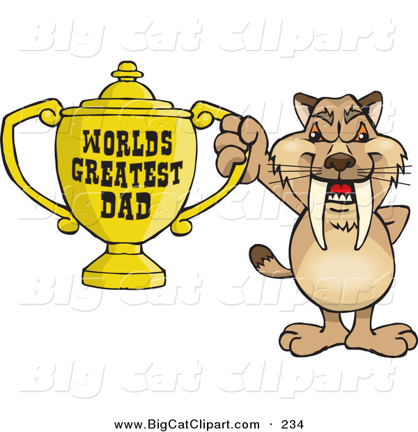 Big Cat Cartoon Vector Clipart of a Cute Sabre Tooth Tiger Character Holding a Golden Worlds Greatest Dad Trophy