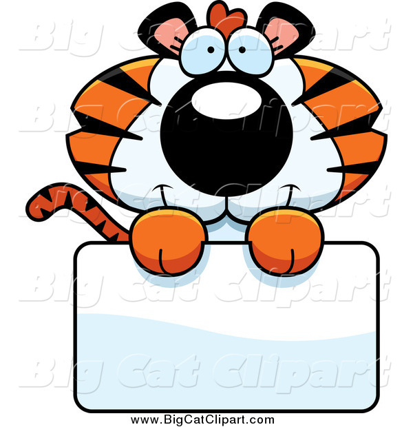 Big Cat Cartoon Vector Clipart of a Cute Tiger Cub over a Sign