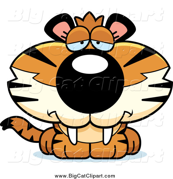 Big Cat Cartoon Vector Clipart of a Depressed Tiger Cub