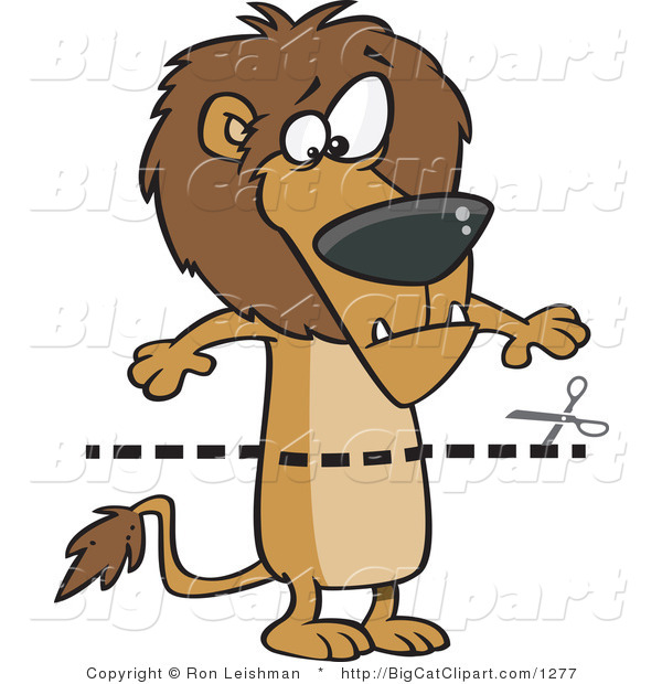 Big Cat Cartoon Vector Clipart of a Dotted Coupon Lion Streak and Scissors
