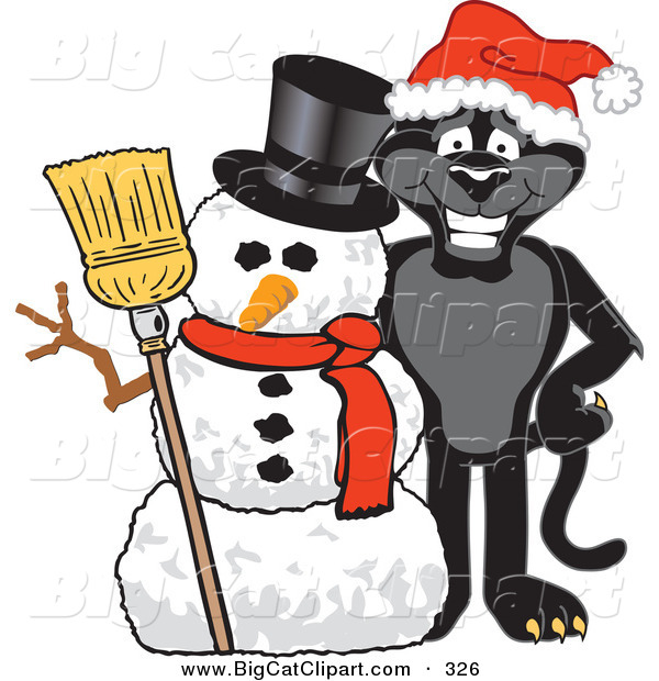 Big Cat Cartoon Vector Clipart of a Festive Black Jaguar Mascot Character with a Snowman