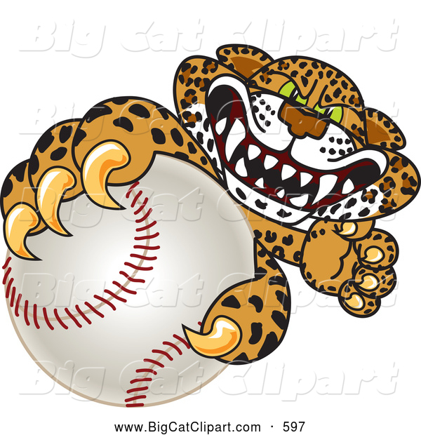 Big Cat Cartoon Vector Clipart of a Friendly Cheetah, Jaguar or Leopard Character School Mascot Grabbing a Baseball