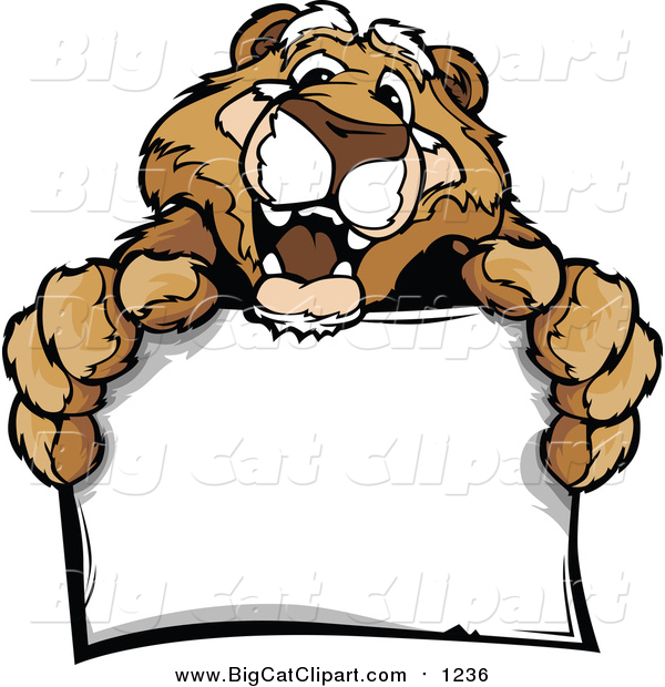 Big Cat Cartoon Vector Clipart of a Friendly Couger Holding a Sign