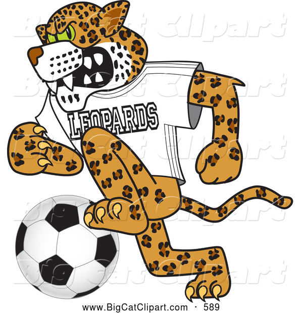 Big Cat Cartoon Vector Clipart of a Friendly Leopard Character School Mascot Playing Soccer