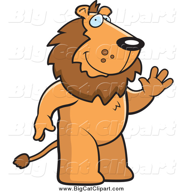 Big Cat Cartoon Vector Clipart of a Friendly Male Lion Standing and Waving