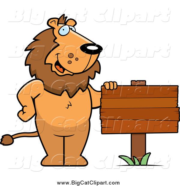 Big Cat Cartoon Vector Clipart of a Friendly Male Lion Standing by a Blank Wood Sign