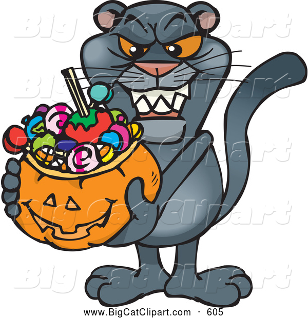 Big Cat Cartoon Vector Clipart of a Frightening Trick or Treating Panther Holding a Pumpkin Basket Full of Halloween Candy