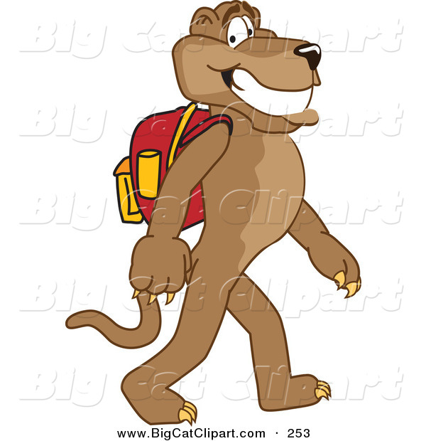 Big Cat Cartoon Vector Clipart of a Grinning Brown Cougar Mascot Character Walking to School