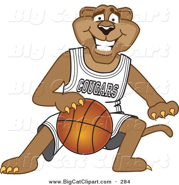 Big Cat Cartoon Vector Clipart of a Grinning Cougar Mascot Character Dribbling a Basketball