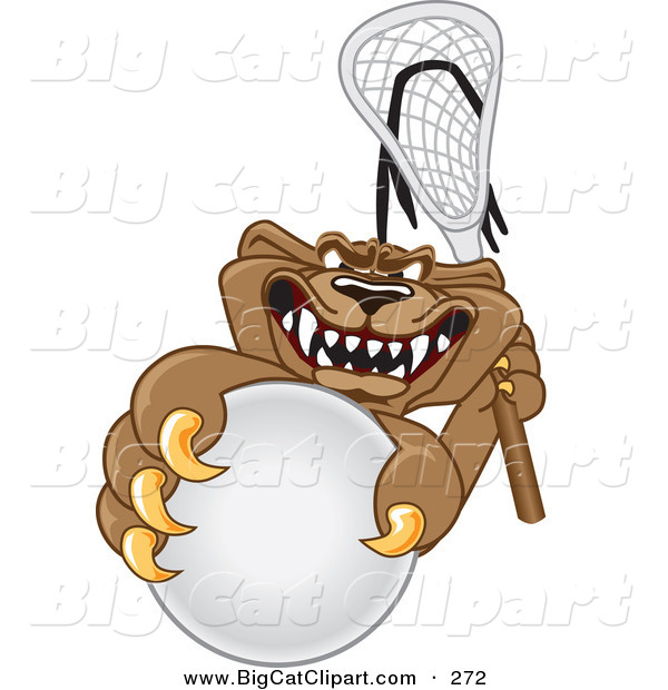Big Cat Cartoon Vector Clipart of a Grinning Cougar Mascot Character Grabbing a Lacrosse Ball