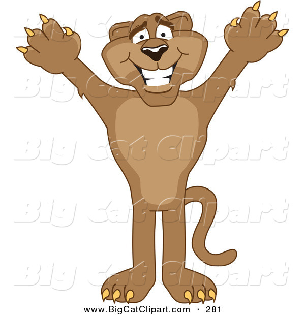 Big Cat Cartoon Vector Clipart of a Grinning Cougar Mascot Character Holding His Arms up