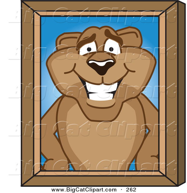 Big Cat Cartoon Vector Clipart of a Grinning Cougar Mascot Character Portrait
