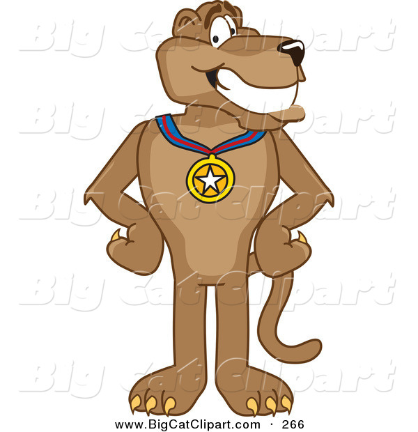 Big Cat Cartoon Vector Clipart of a Grinning Cougar Mascot Character Wearing a Medal