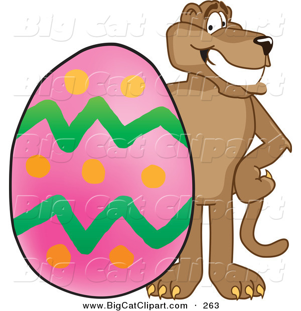 Big Cat Cartoon Vector Clipart of a Grinning Cougar Mascot Character with an Easter Egg