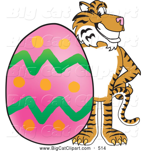 Big Cat Cartoon Vector Clipart of a Grinning Tiger Character School Mascot with an Easter Egg