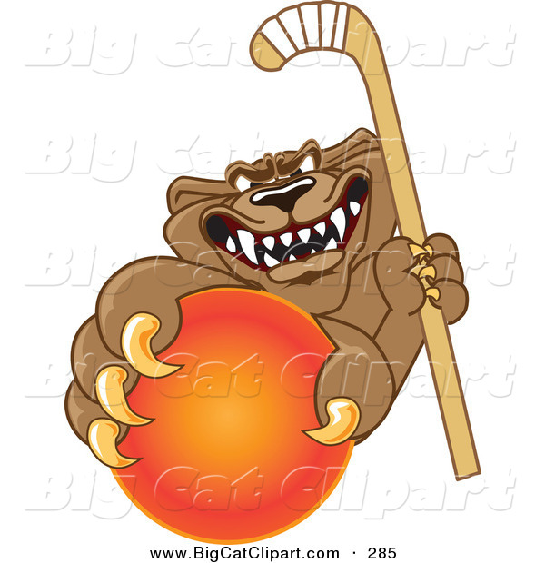 Big Cat Cartoon Vector Clipart of a Growling Cougar Mascot Character Grabbing a Hockey Ball
