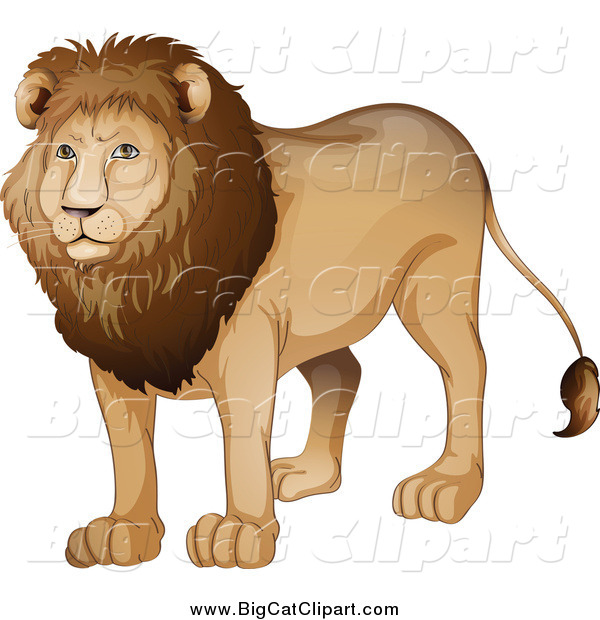 Big Cat Cartoon Vector Clipart of a Handsome Male Lion