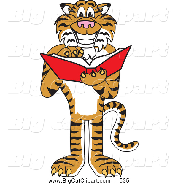 Big Cat Cartoon Vector Clipart of a Happy and Outgoing Tiger Character School Mascot Reading