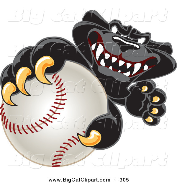 Big Cat Cartoon Vector Clipart of a Happy Black Jaguar Mascot Character Grabbing a Baseball
