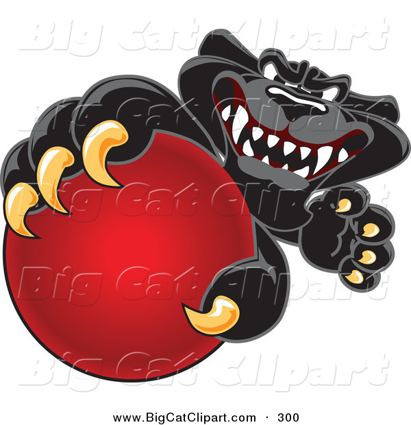 Big Cat Cartoon Vector Clipart of a Happy Black Jaguar Mascot Character Grabbing a Red Ball
