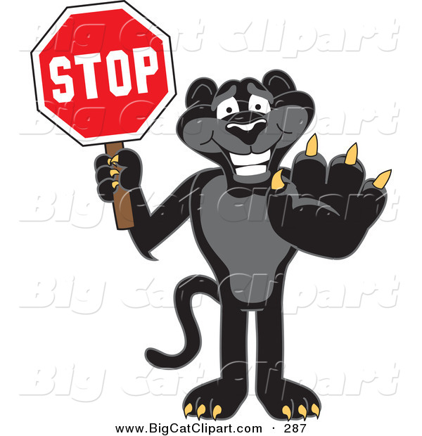 Big Cat Cartoon Vector Clipart of a Happy Black Jaguar Mascot Character Holding a Stop Sign