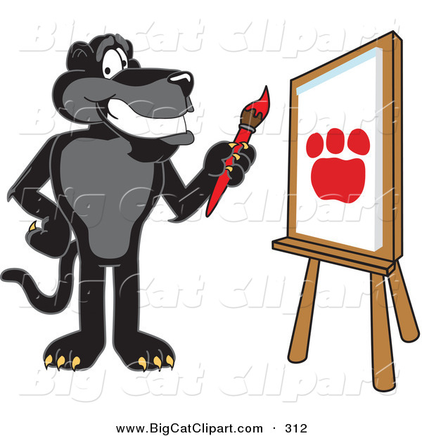 Big Cat Cartoon Vector Clipart of a Happy Black Jaguar Mascot Character Painting