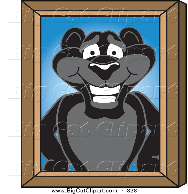 Big Cat Cartoon Vector Clipart of a Happy Black Jaguar Mascot Character Portrait