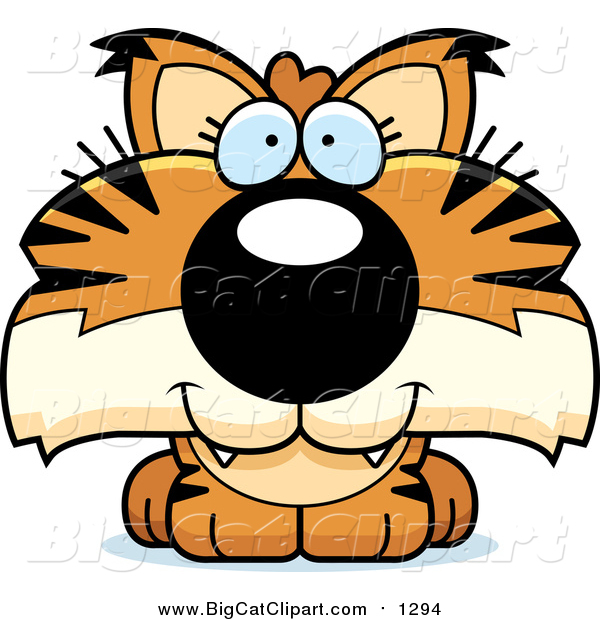 Big Cat Cartoon Vector Clipart of a Happy Bobcat Cub