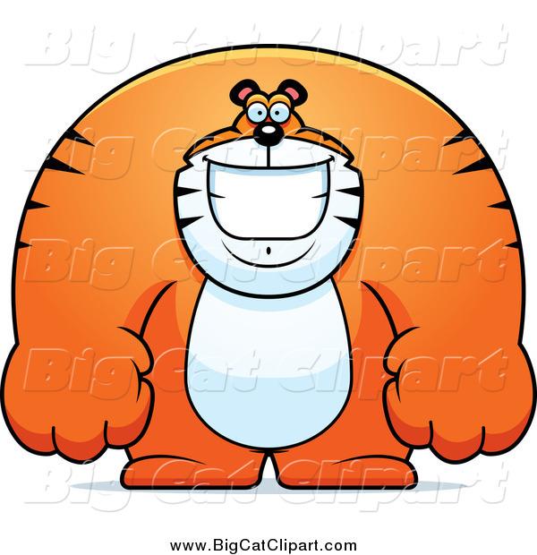 Big Cat Cartoon Vector Clipart of a Happy Buff Huge Tiger ...