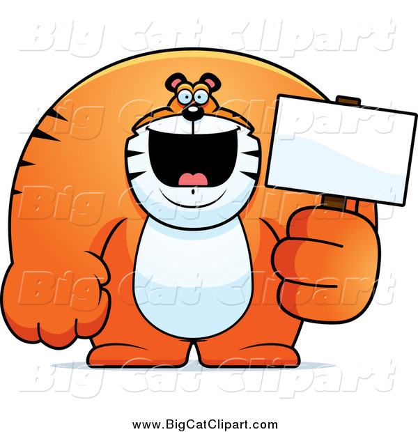 Big Cat Cartoon Vector Clipart of a Happy Buff Tiger Holding a Blank Sign