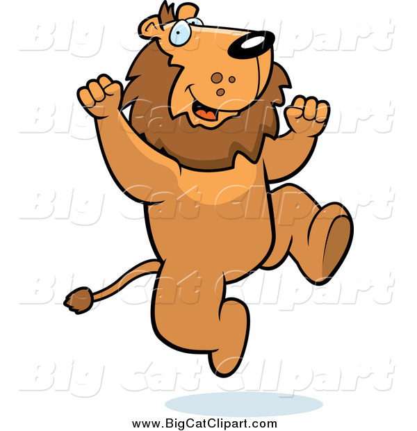 Big Cat Cartoon Vector Clipart of a Happy Cheering Lion Jumping