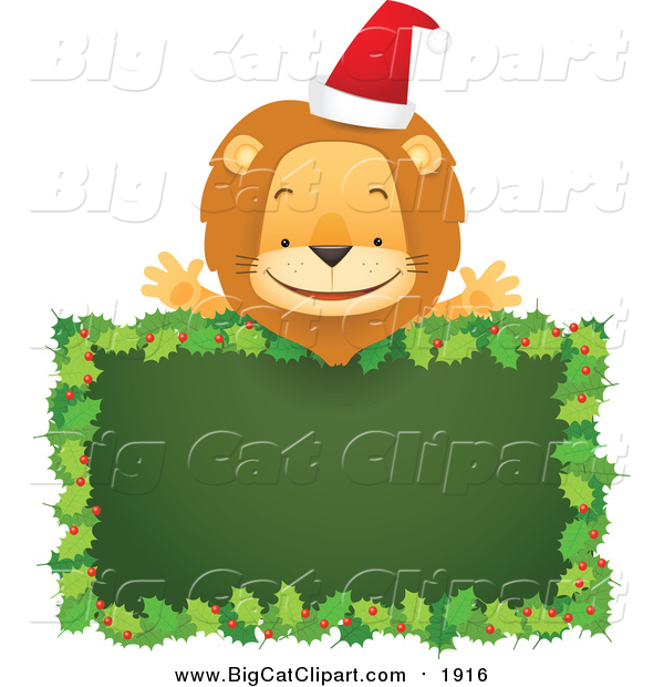 Big Cat Cartoon Vector Clipart of a Happy Christmas Lion over a Blank Holly Sign