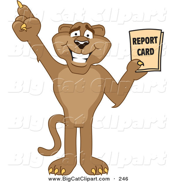 Big Cat Cartoon Vector Clipart of a Happy Cougar Mascot Character Holding a Report Card
