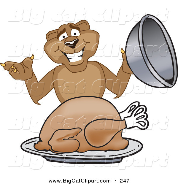 Big Cat Cartoon Vector Clipart of a Happy Cougar Mascot Character Serving a Thanksgiving Turkey