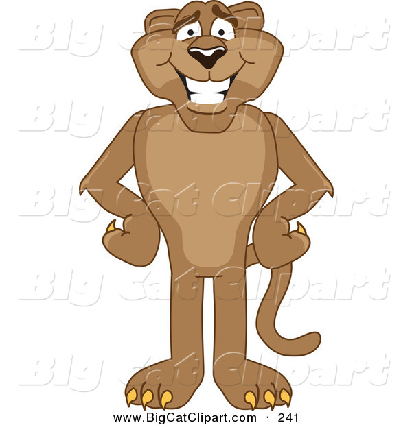 Big Cat Cartoon Vector Clipart of a Happy Cougar Mascot Character with His Hands on His Hips