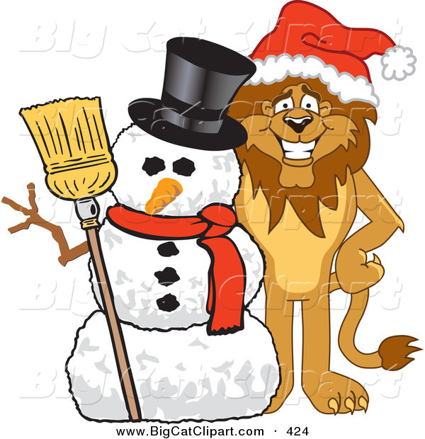 Big Cat Cartoon Vector Clipart of a Happy Gentle Lion Character Mascot with a Snowman