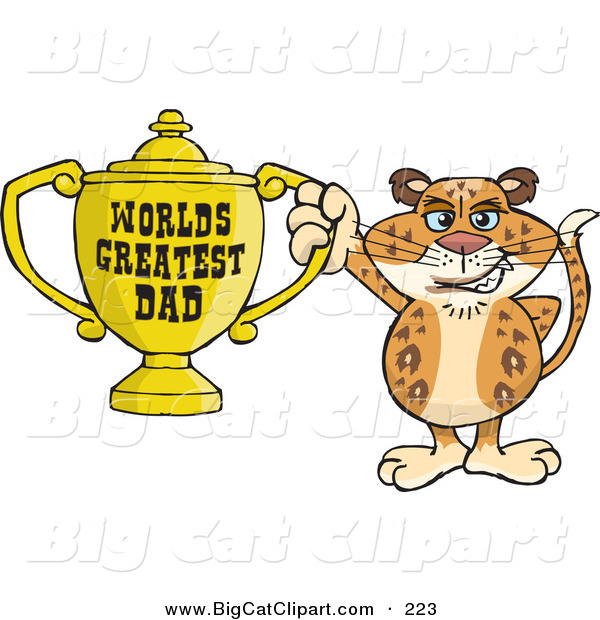Big Cat Cartoon Vector Clipart of a Happy Leopard Wildcat Character Holding a Golden Worlds Greatest Dad Trophy