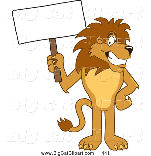 Big Cat Cartoon Vector Clipart of a Happy Lion Character Mascot with a Blank Sign
