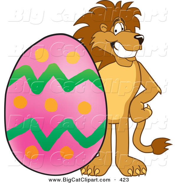 Big Cat Cartoon Vector Clipart of a Happy Lion Character Mascot with an Easter Egg