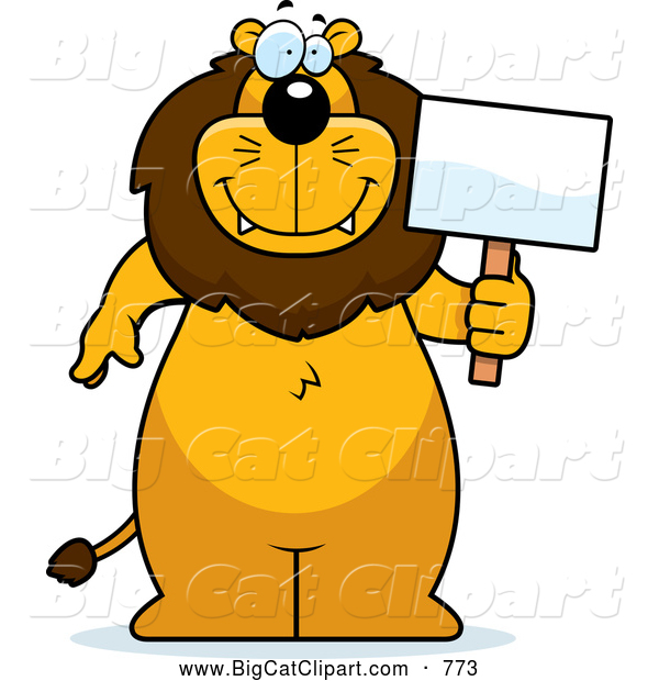 Big Cat Cartoon Vector Clipart of a Happy Lion Standing and Holding a Sign