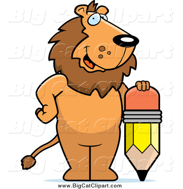 Big Cat Cartoon Vector Clipart of a Happy Lion Standing by a Pencil
