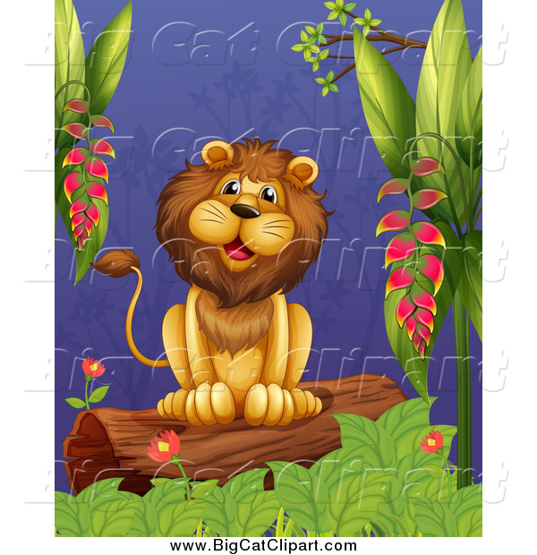 Big Cat Cartoon Vector Clipart of a Happy Male Lion Sitting on a Jungle Log