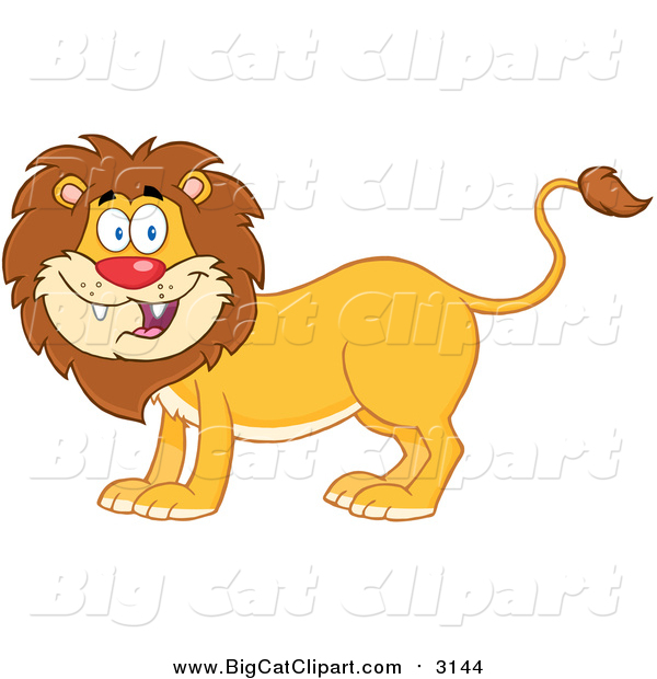 Big Cat Cartoon Vector Clipart of a Happy Male Lion Smiling