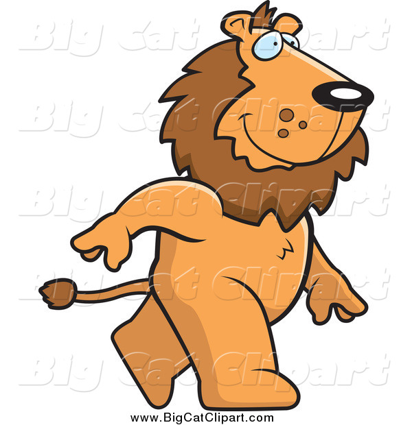 Big Cat Cartoon Vector Clipart of a Happy Male Lion Walking Upright