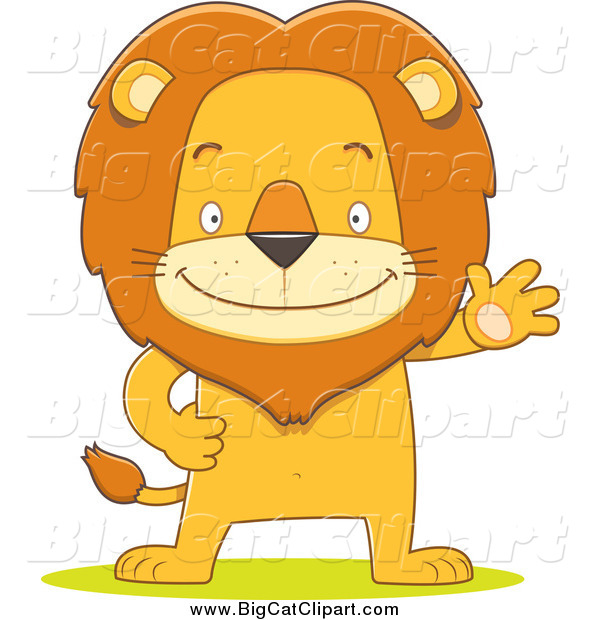 Big Cat Cartoon Vector Clipart of a Happy Male Lion Waving and Standing Upright