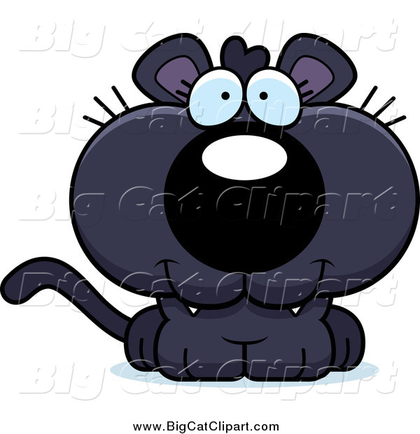 Big Cat Cartoon Vector Clipart of a Happy Panther Cub
