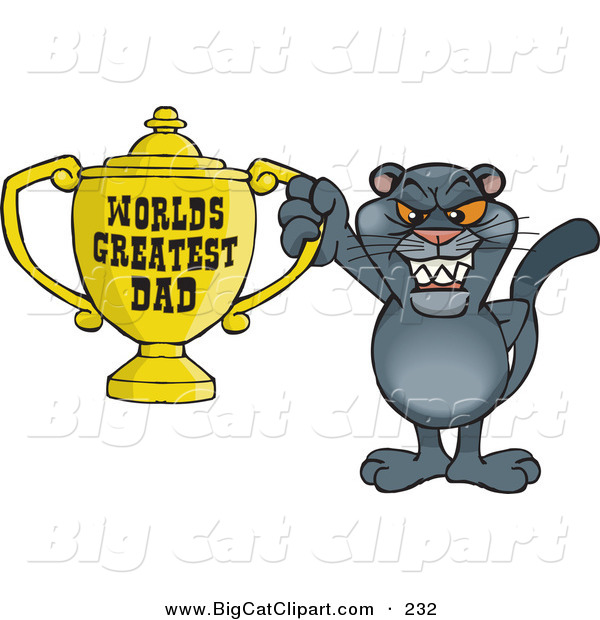Big Cat Cartoon Vector Clipart of a Happy Panther Wildcat Character Holding a Golden Worlds Greatest Dad Trophy
